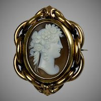 Victorian Large Cameo Swivel Brooch