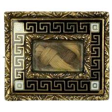 Victorian 14K Gold Enamel Hairwork Mourning Brooch Pin