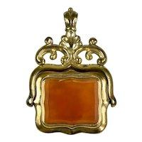 Victorian Carnelian & Banded Agate Swivel Pendant