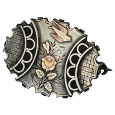 English Victorian 3-Color Sterling Gold Brooch