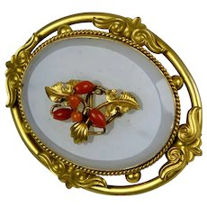 Victorian Rolled Gold Coral Chalcedony Brooch