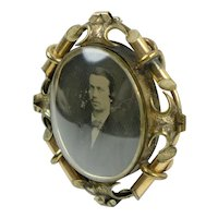 Large Victorian Photo Brooch Original Curved Glass