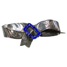 Sweet Victorian Sterling Silver Enamel Buckle Pin