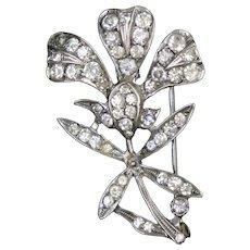 Dazzling Victorian Sterling Paste Flower Pin