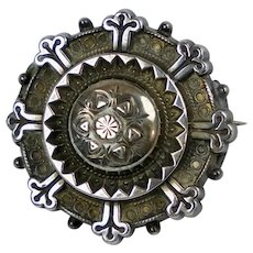 Victorian Repousse Sterling Silver Brooch