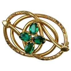 Special Victorian Emerald Crystals Love Knot Brooch