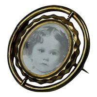 Victorian Gold Filled Swivel Photo Brooch