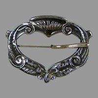 Lovely Art Nouveau Silver Buckle Sash Pin
