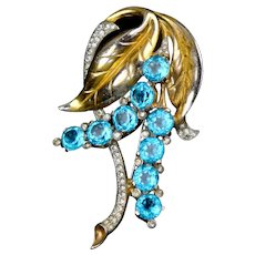 Eye-Catching Large Retro Aqua Crystal Flower Pin