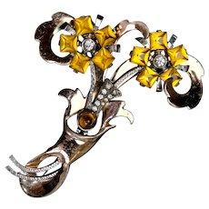Striking Rose Gold Vermeil Bouquet Pin by Kreisler
