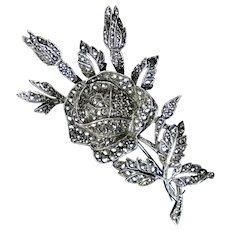 Art Deco Sterling Marcasite Rose Pin Brooch