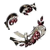 Stunning & Rare Retro Vermeil Pin and Earrings Set