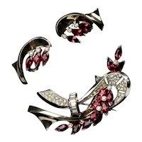 Stunning Pennino 1940s Vermeil Pin and Earrings Set