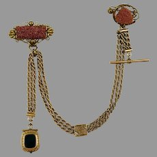 RARE Victorian Double Goldstone Swag Chatelaine Brooch