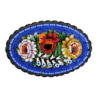 Large Colorful Floral Micro Mosaic Pin Brooch