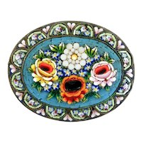 Large, Intricate, Detailed Floral Micro Mosaic Pin Brooch