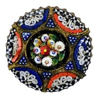 Petite Micro Mosaic Tiny Tesserae Pin Brooch