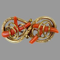 Special Victorian Salmon Coral Knot Brooch