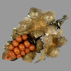 Extraordinary Victorian Salmon Coral Grapes Brooch