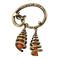 One of a Kind Victorian Salmon Coral Brooch with Diamond