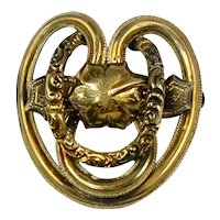Unique Victorian Chased Gold Filled Pin Brooch