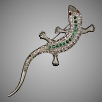 Large Victorian Paste Lizard Brooch