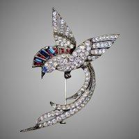 Smashing French Art Deco Sterling Paste Bird Brooch