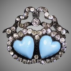 Victorian Sterling Paste Turquoise Double Hearts Brooch