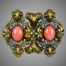 Extraordinary Large Victorian Coral Pin