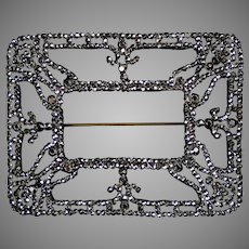 Rare Dazzling Large 19th C Cut Steel Brooch