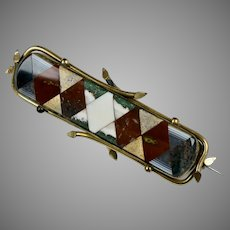 Magnificent Large Scottish Victorian Agate Pin