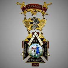 Large Decorative Enamel Medal Brooch