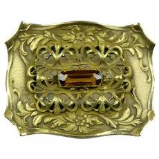 Large Art Nouveau Topaz Crystal Sash Pin