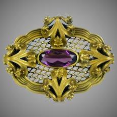Dimensional Art Nouveau Amethyst Crystal Sash Pin