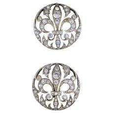 Pair 19th Century Sterling Paste Fleur De Lis Buttons