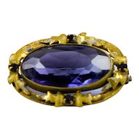 Small Victorian Rolled Gold Amethyst Crystal Brooch