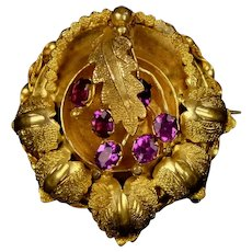 Intricate Victorian Rolled Gold Garnets Brooch