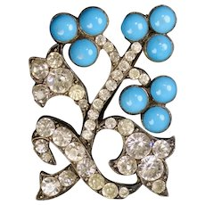 Smashing Victorian Large Paste Turquoise Brooch