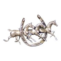 Sterling Silver Equestrian Horses & Shoe Pin