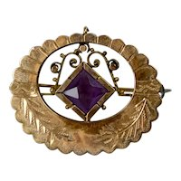 Victorian Rose Gold Fronted Amethyst Crystal Pin Brooch