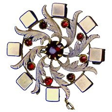 Special Victorian Gold Fronted Pin with Garnet Accents