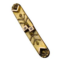 Victorian Etruscan Revival Gold Front Bar Pin