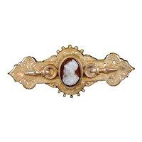Victorian Sardonyx Hard Stone Cameo Brooch Pin