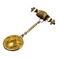 Exquisite Victorian Etruscan Revival Pin with Art Nouveau Locket