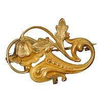 Lovely Art Nouveau Sculpted Gold Filled Watch Pin