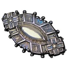 Victorian Repousse Sterling Silver Ellipse Brooch
