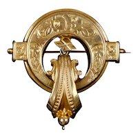 Superb Antique Victorian 14K Gold Brooch with Pendulum