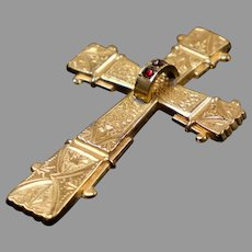 Rare Large Victorian Chased Cross Brooch