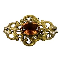 English Victorian Rolled Gold Topaz Paste Brooch