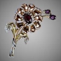 Trifari Large Rose Gold Flower Pin ~ Signed